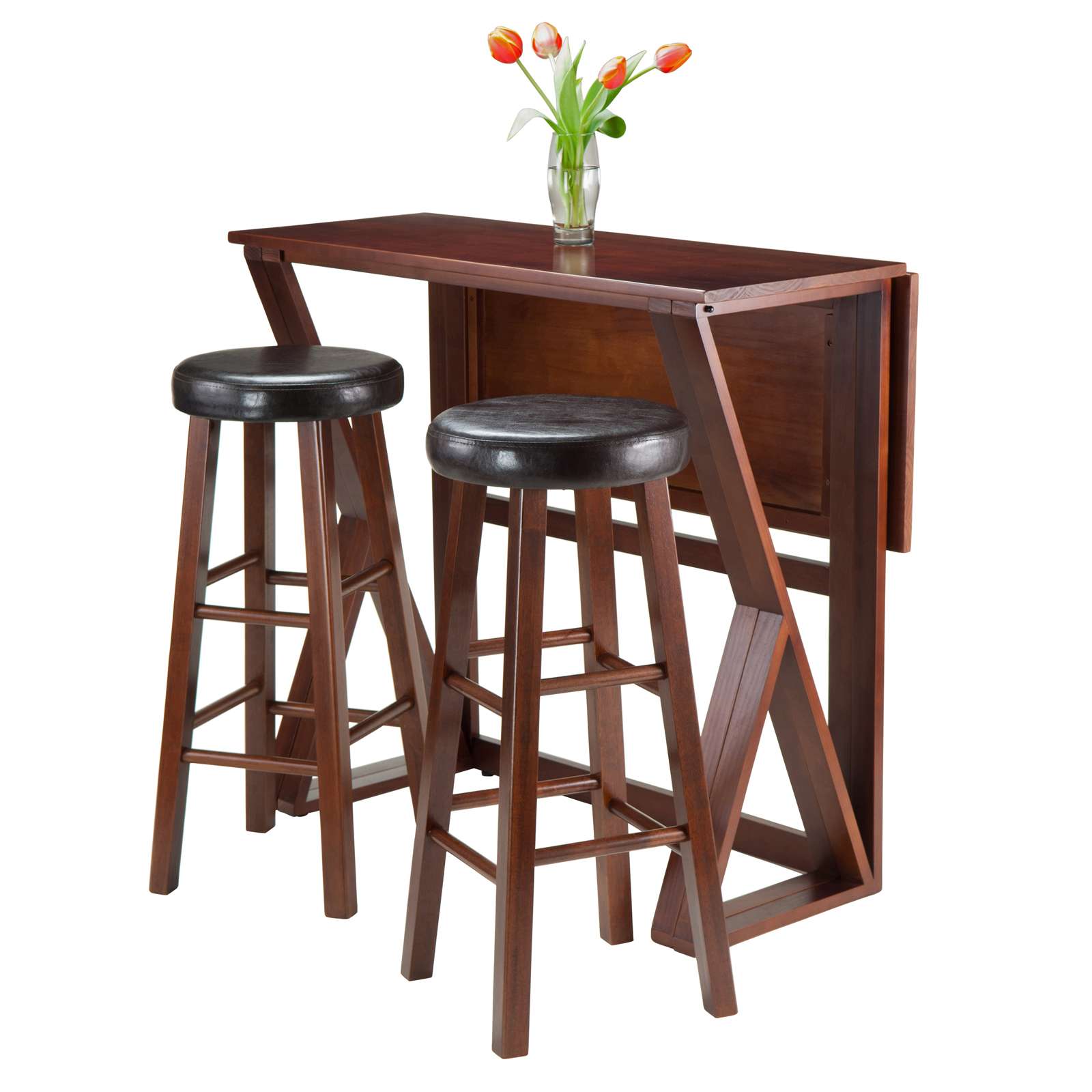 Winsome Trading Harrington 3 Piece Counter Height Dining Table Set