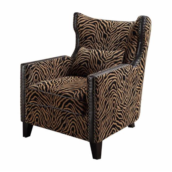 Armen Living Tiger Chenille Nail Head Accent Chair