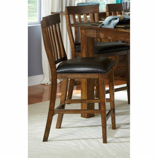 A-America Mariposa Slat Back Upholstered Counter Stool - Rustic Whiskey - Set of 2