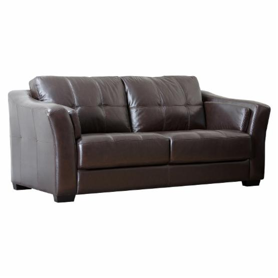 Abbyson Lincoln Premium Leather Sofa - Brown