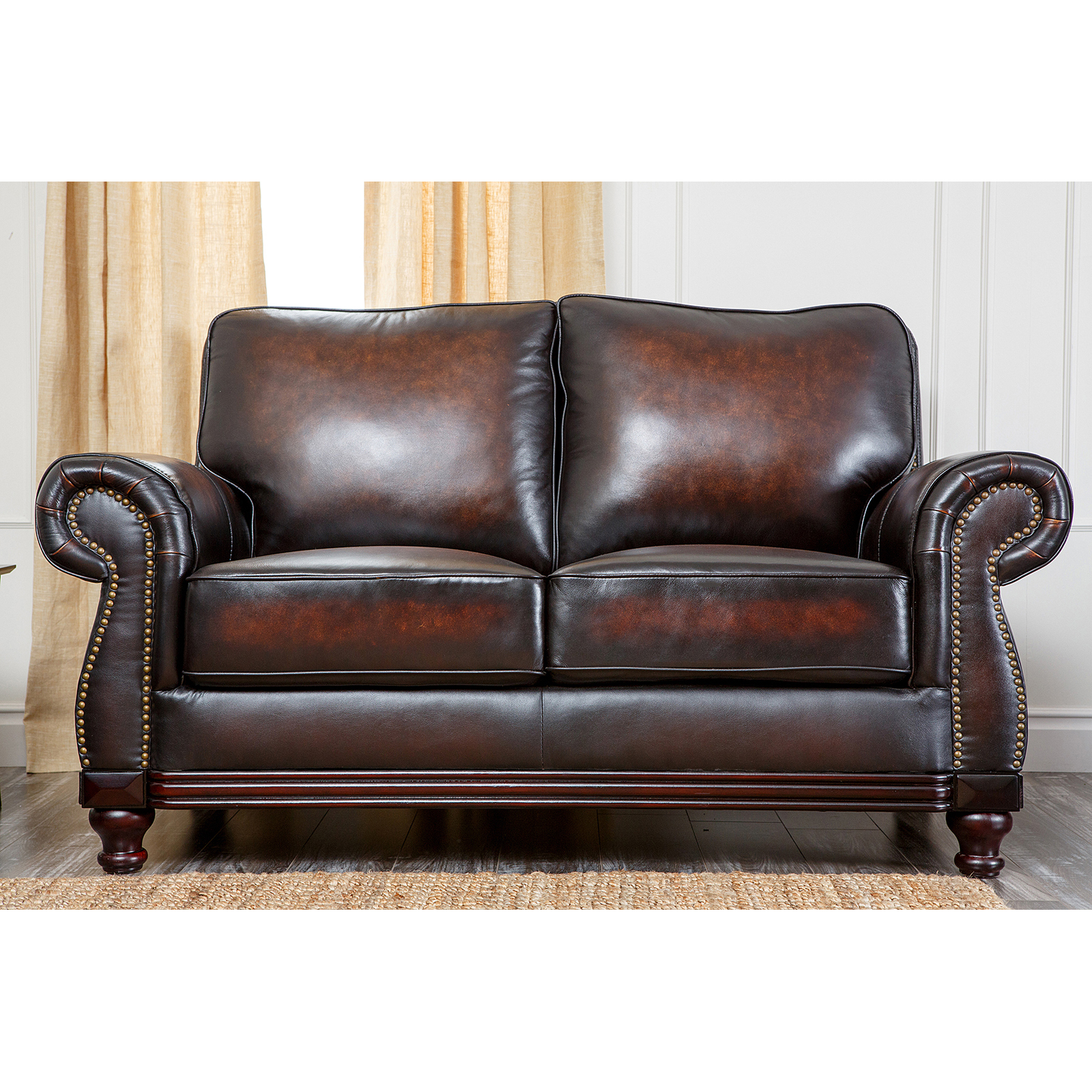 Abbyson Tannington 4 Piece Hand Rubbed Leather Sofa Set Brown
