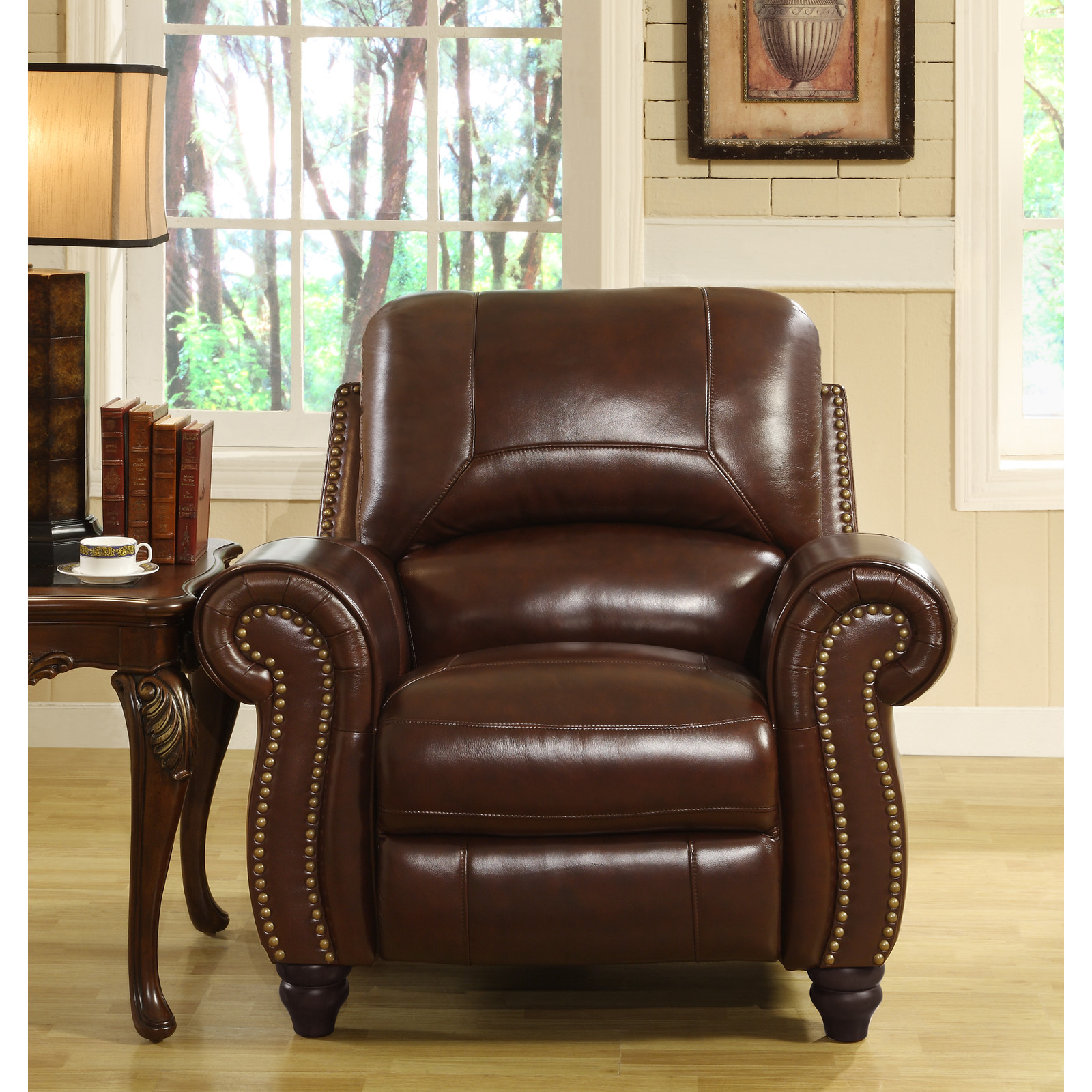 Abbyson Cambridge Burgundy Leather Pushback Reclining Chair | Hayneedle : push back leather recliner - islam-shia.org