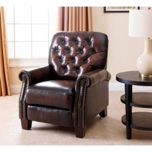 Abbyson Amden Hand Rubbed Top Grain Leather Pushback Recliner