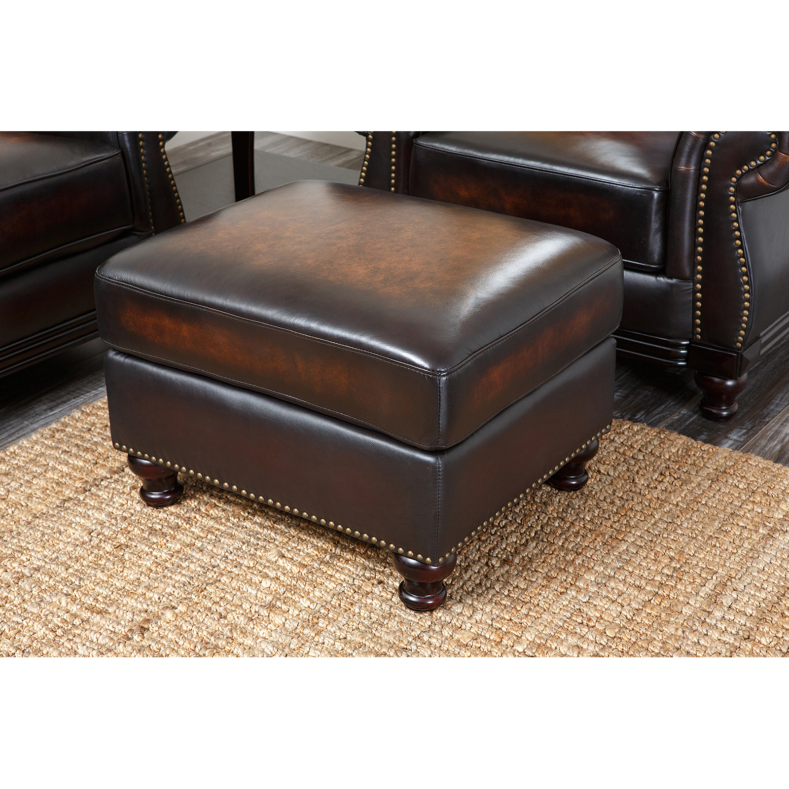 Abbyson Barclay Hand Rubbed Leather Arm Chair Brown