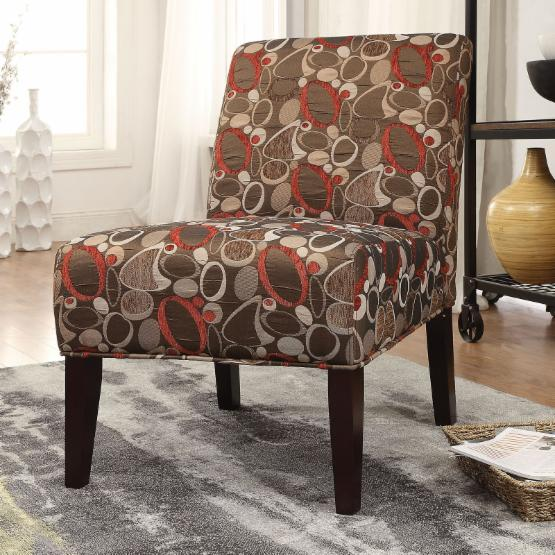 Acme Furniture Aberly Accent Chair - Circle Pattern & Espresso