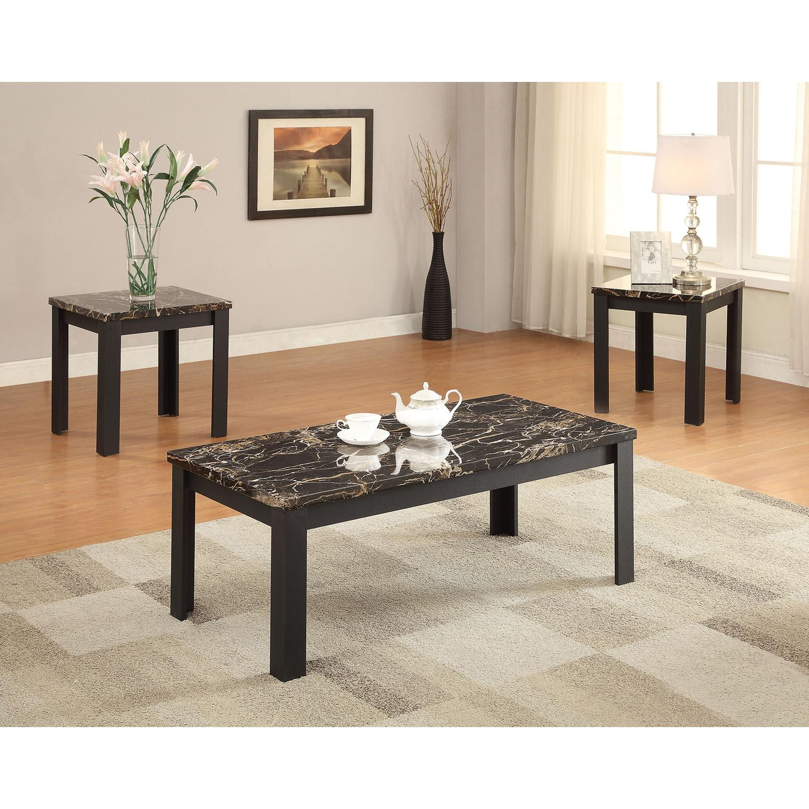 Standard Furniture Cosmo 5 Piece Round Coffee Table Set W: Marble Coffee Table And End Tables