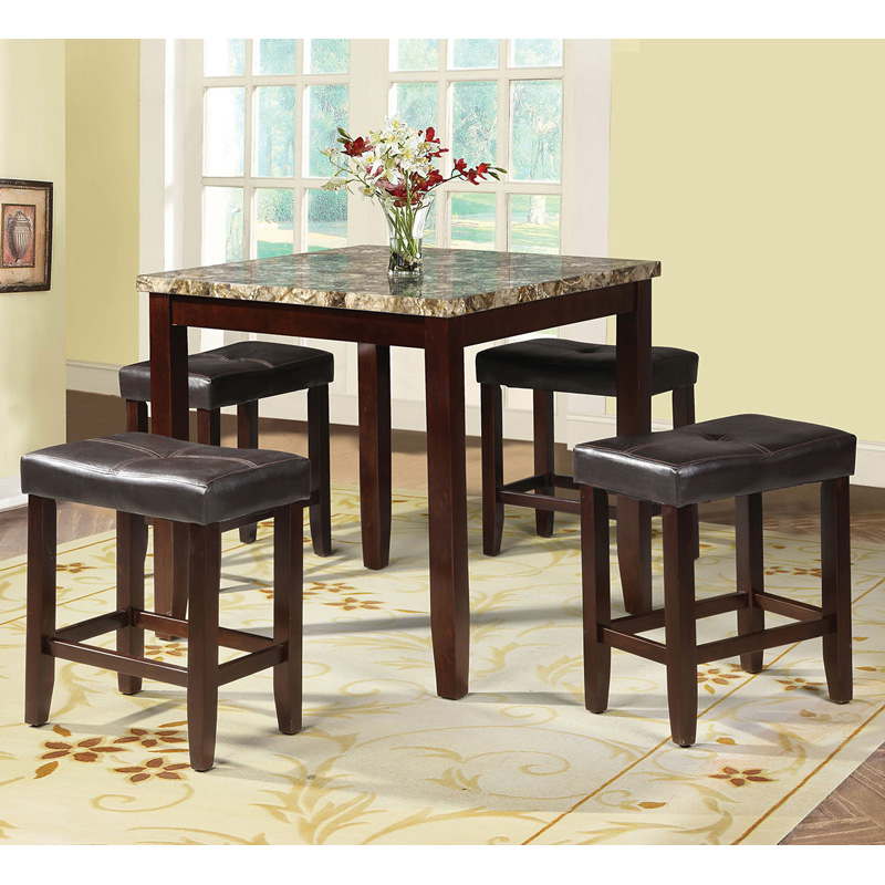Acme Furniture Rolle 5 Piece Counter Height Faux Marble Dining Table Set