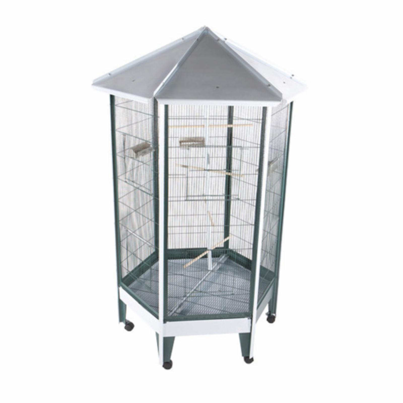A and E Cage Co. Pitched Roof Hexagon Aviary - 100C1