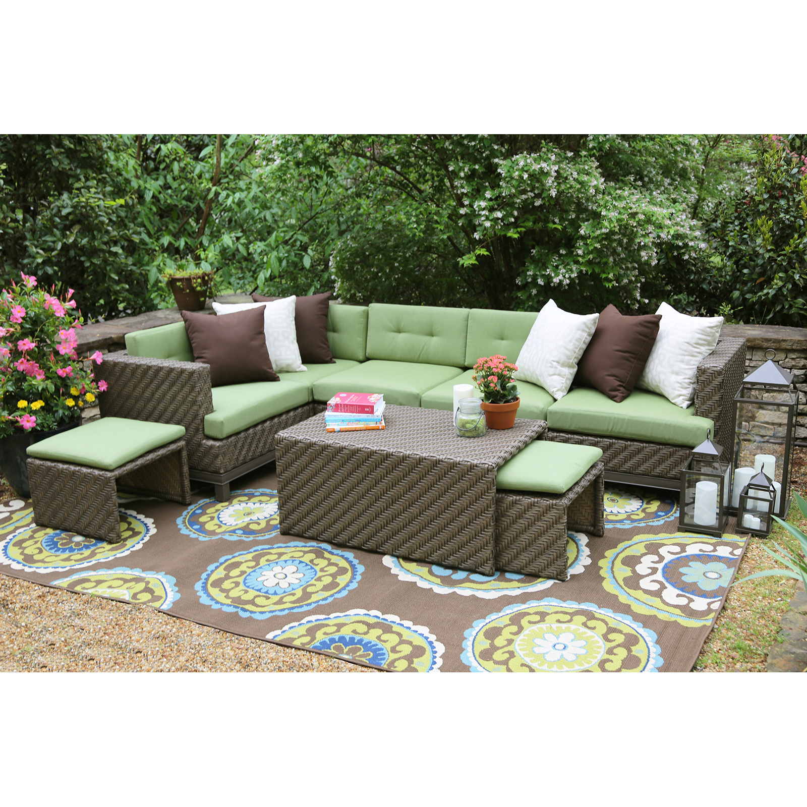 High Quality AE Outdoor Hampton 8 Piece Sectional Conversation Set