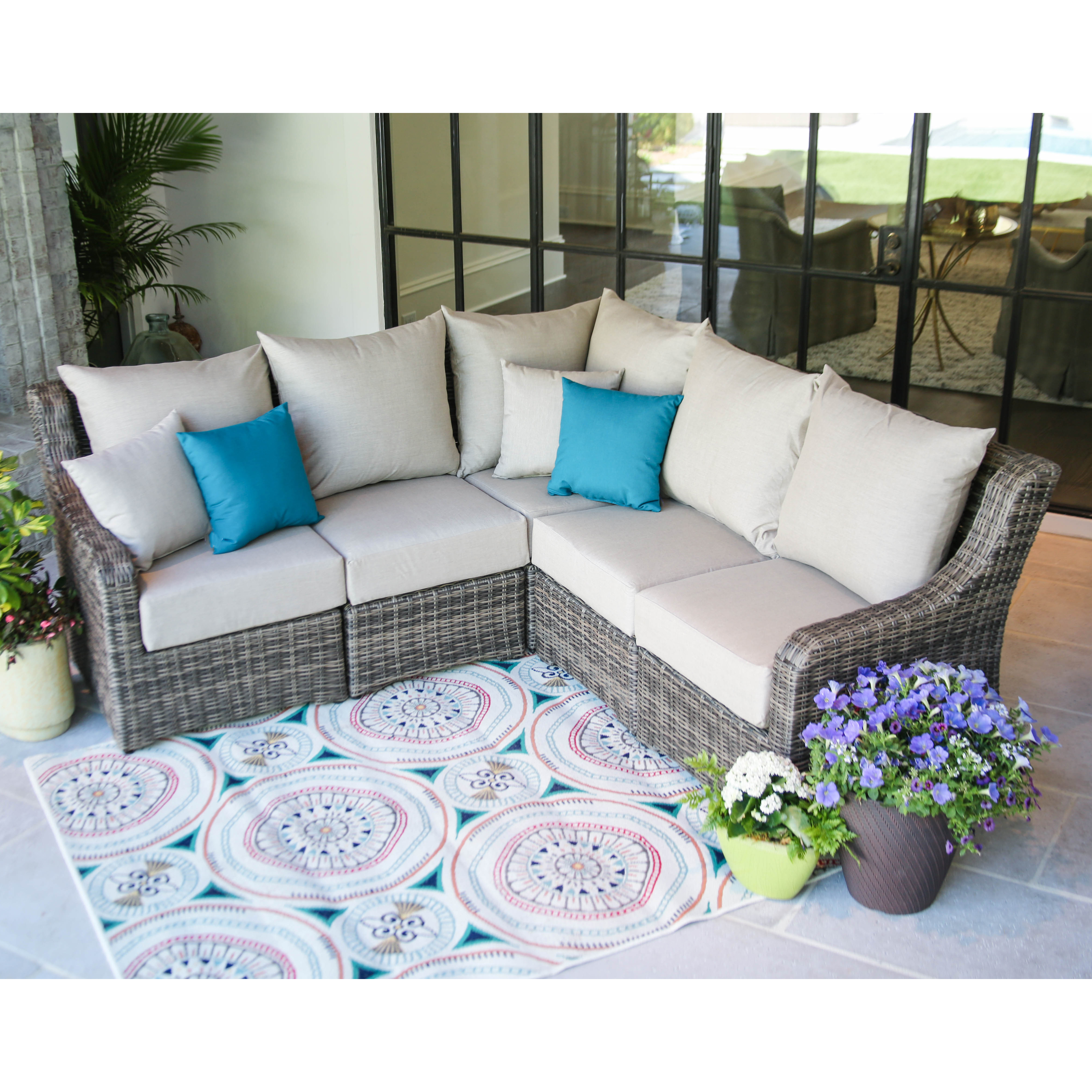 AE Outdoor Cherry Hill Wicker 5 Piece Sectional Patio Conversation Set