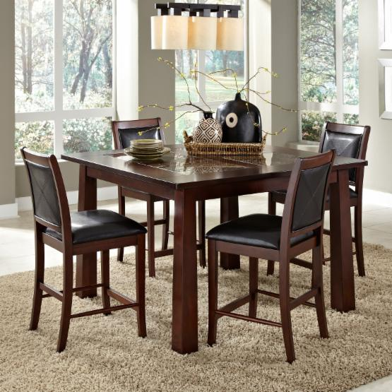 AHB Granada 5 Piece Wood & Granite Counter Height Set with Devera Stools