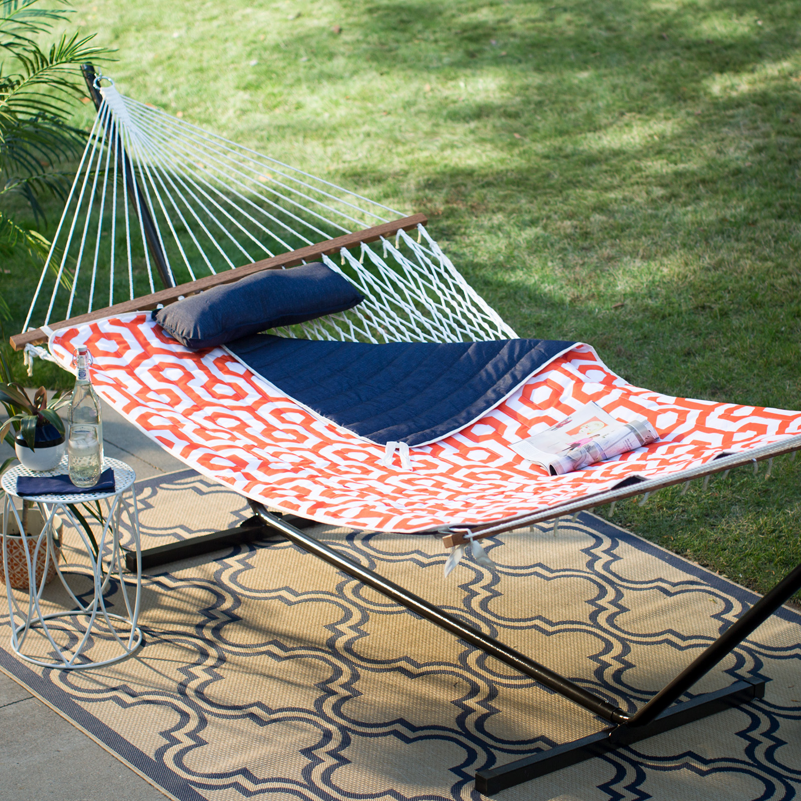 cotton rope double hammock with metal stand deluxe set   orange hammocks with stands   hayneedle  rh   hayneedle