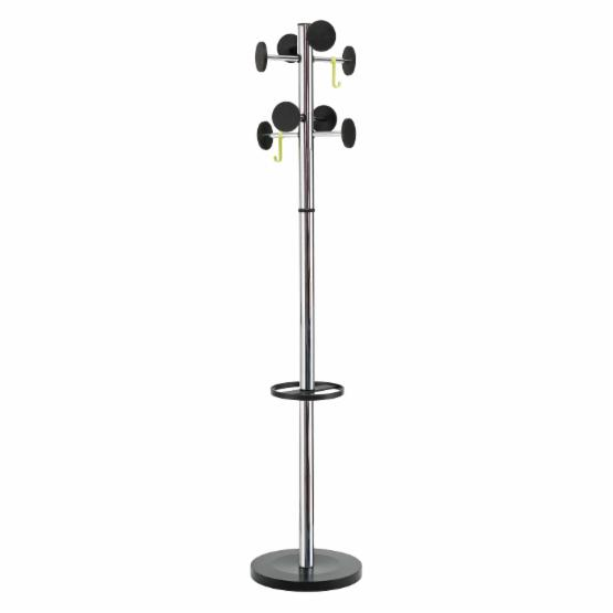 Stan 3 Modern 8 Peg Coat Rack with Large Capacity Umbrella Stand - Chrome