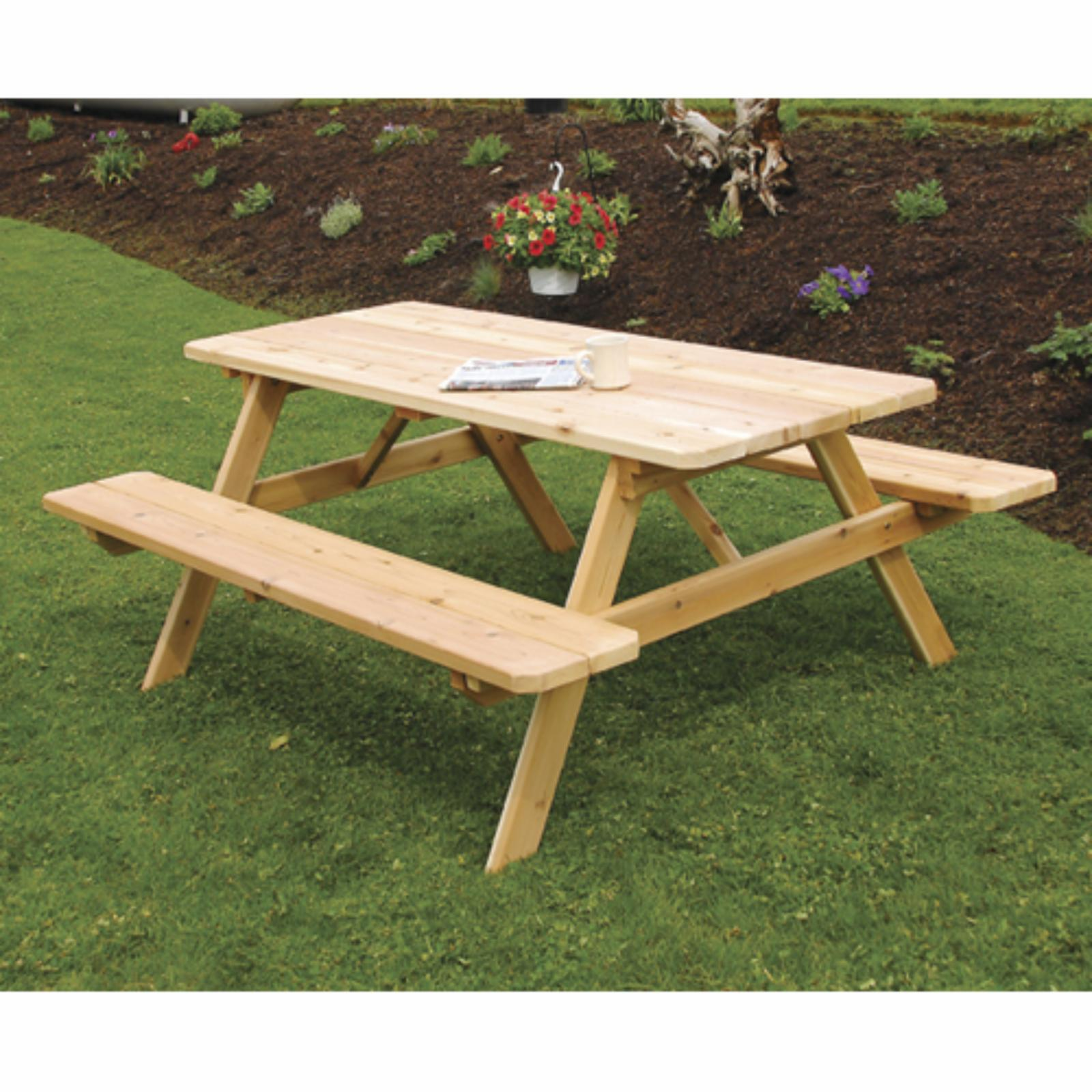 Outdoor A & L Furniture Western Red Cedar Picnic Table wi...