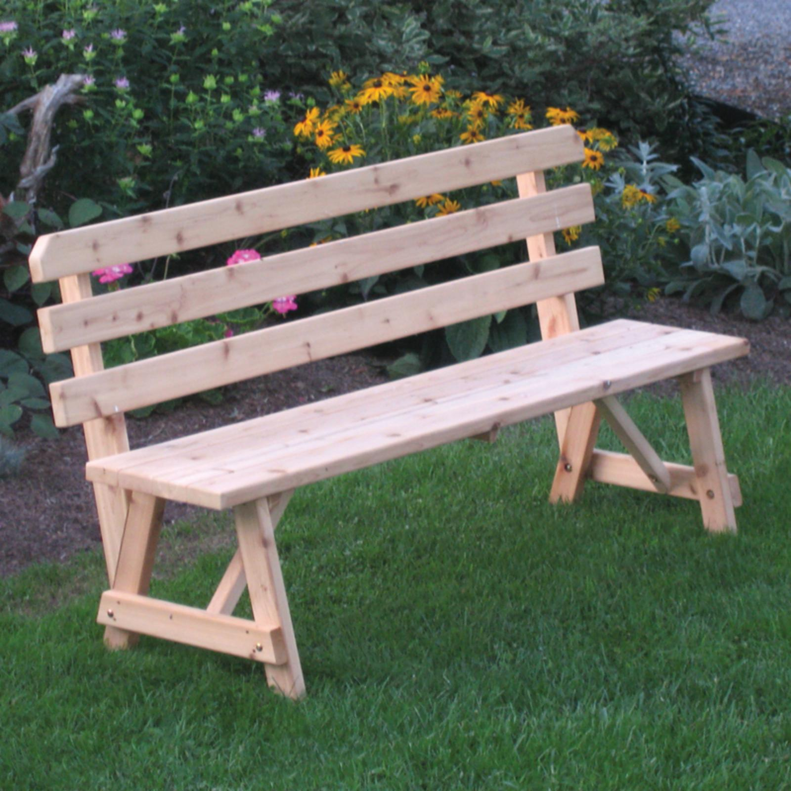Outdoor A & L Furniture Western Red Cedar Bench with Back...