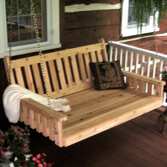 A & L Furniture Western Red Cedar Traditional English Cedar Swing Bed