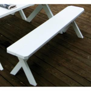 A & L Furniture Yellow Pine Crossleg Backless Bench
