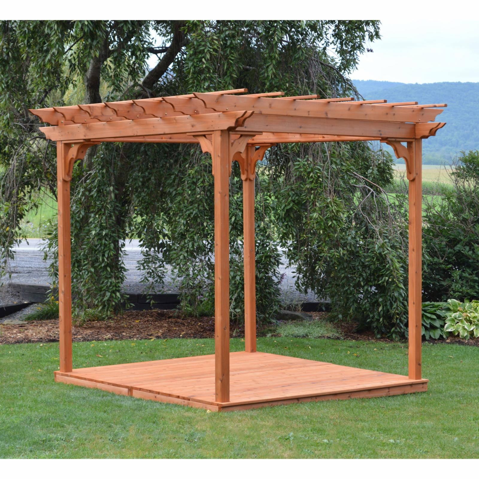 A & L Furniture Western Red Cedar Pergola With Deck and Swing Hangers - 706C-UNFINISHED