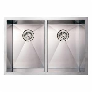 Whitehaus Noahs Collection 29 in. Commercial Double Bowl Undermount Sink