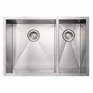 Whitehaus Noahs Collection 29 in. Commercial Offset Double Bowl Undermount Sink