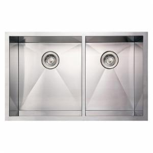 Whitehaus Noahs Collection 33 in. Commercial Offset Double Bowl Undermount Sink