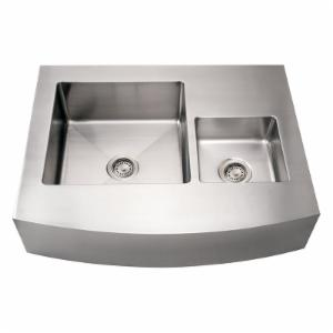 Whitehaus Noahs Collection 36 in. Commercial Arched Front Double Bowl Sink