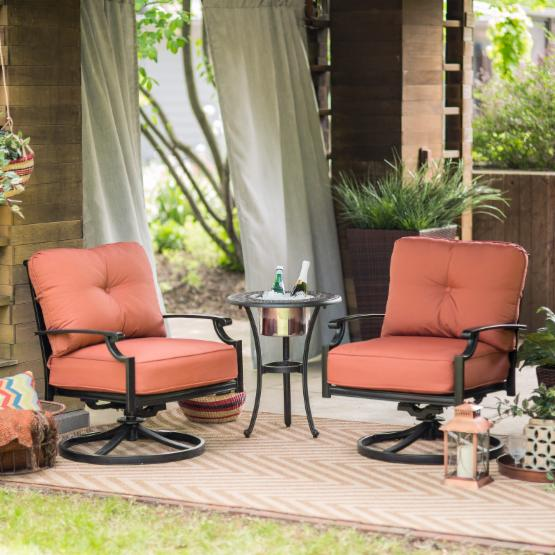 Belham Living San Miguel Cast Aluminum Swivel Rocker Club Chairs with Beverage Cooler Side Table