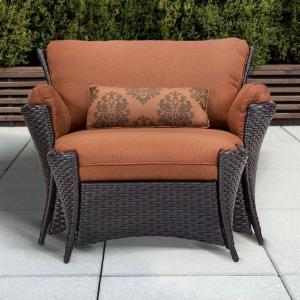 Hanover Strathmere Allure Wicker Armchair and Ottoman