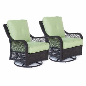 Hanover Orleans Wicker Swivel Rocking Chair - Set of 2
