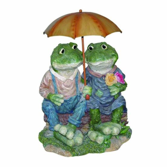 Two Country Frogs with Umbrella Cast Resin Garden Statue
