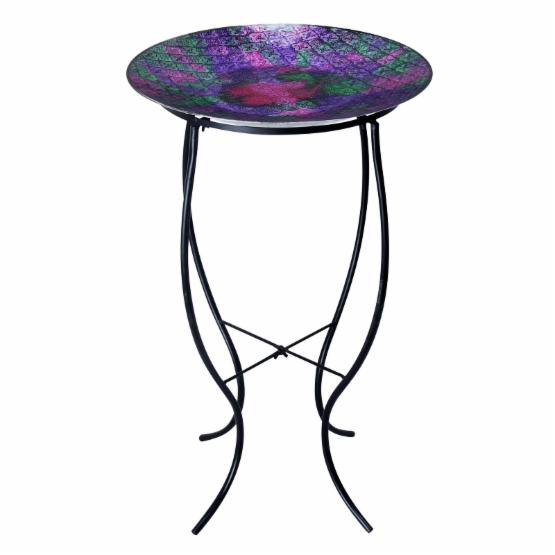 Alpine 16 in. Glass Birdbath Purple and Green with Metal Stand