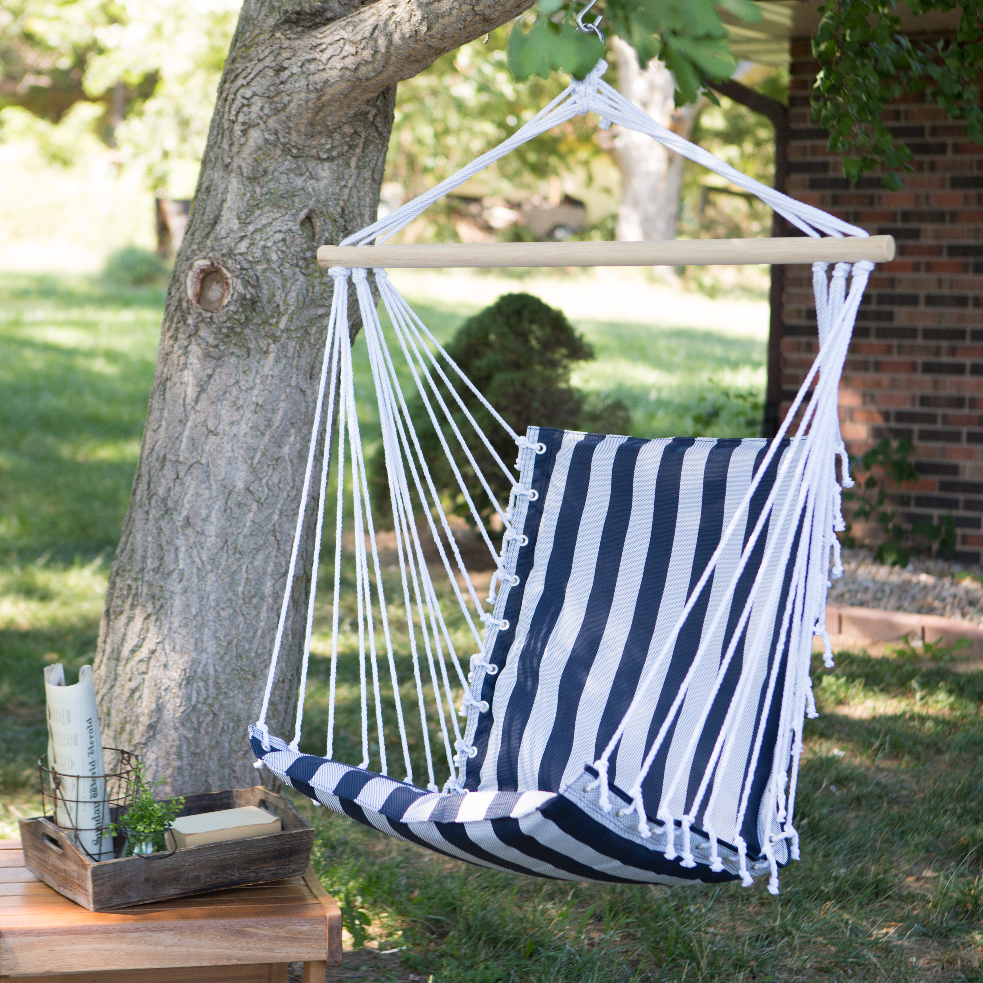 Medium image of the ultimate padded mesh hanging hammock chair   navy stripes