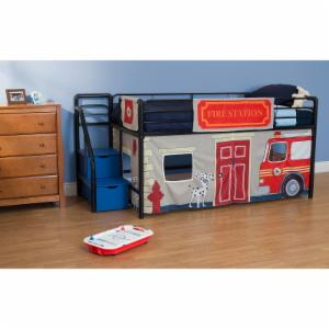 Fire Department Junior Loft with Blue Steps and Storage - Black