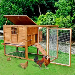 Pawhut 64 in. Chicken Coop Hen House with Nesting Box and Outdoor Run