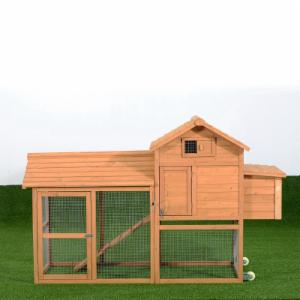 Pawhut Deluxe Portable Backyard Chicken Coop with Fenced Run and Wheels