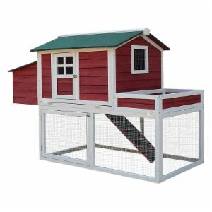Pawhut Farmhouse Chicken Coop with Nesting Box and Run
