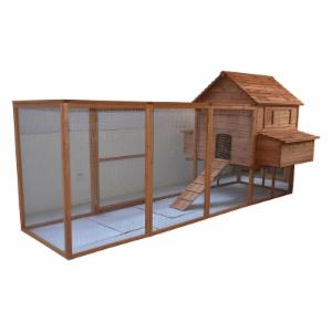 Pawhut Hen House Large Backyard Hen House Chicken Coop with Long Run