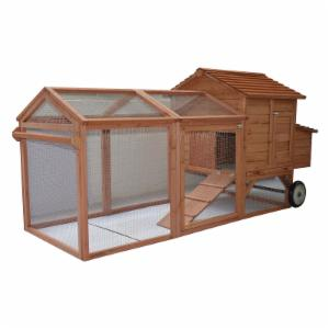 Pawhut Hen House Wooden Backyard Chicken Coop with Wheels