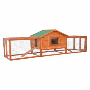 Pawhut Deluxe Wooden Small Animal Hutch with Double Runs