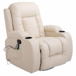 HomCom Faux Leather Heated Massage Recliner Chair with Remote