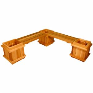 Square Cedar Wood 5-Piece Planter Bench Set