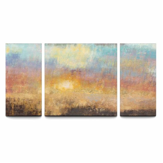 Paradise Sunset 30 x 60 Textured Canvas Print Triptych