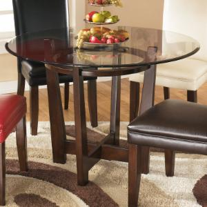 signature design by ashley charrell round dining table - Glass Top Dining Table