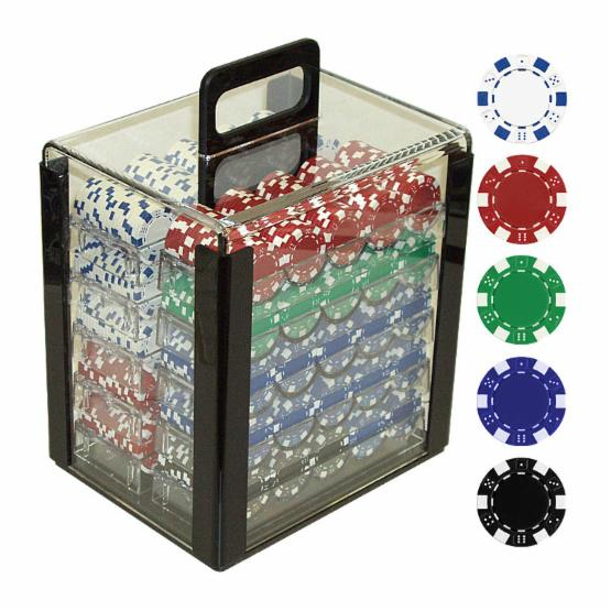 Trademark Poker 11.5g Dice-Striped Poker Set in Acrylic Carrier - 1000 Chips