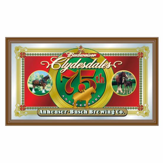 Trademark Budweiser Clydesdales 75th Anniversary Mirror - 26W x 15H in.