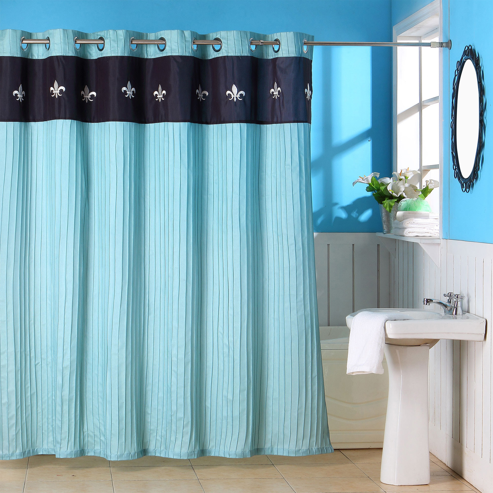 Blue ruffled shower curtains - I Would By It Again