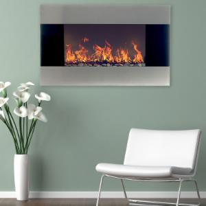 Northwest Stainless Steel 35 in. Electric Fireplace Wall Mount
