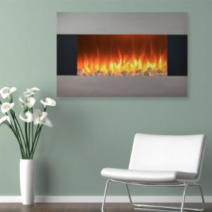 Northwest 36 in. Stainless Electric Wall Mount or Freestanding Fireplace