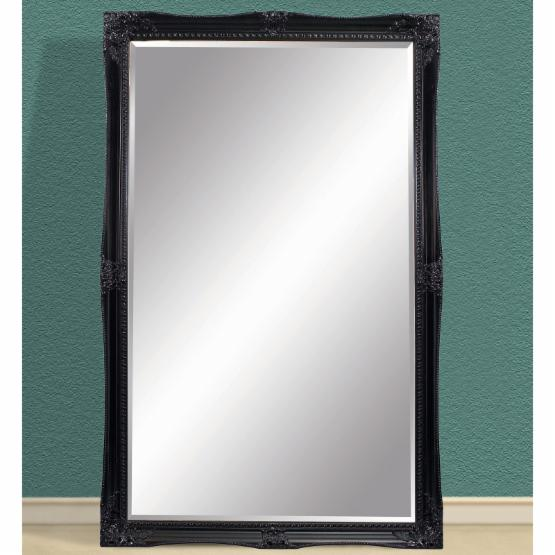 High Gloss Black Leaning Floor Mirror - 55W x 79H in.