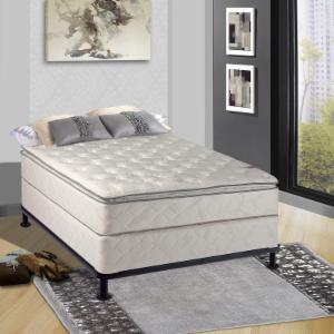 Continental Sleep Medium Plush 11 in. Pillowtop Orthopedic Innerspring Mattress and Box Spring with Frame